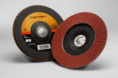 3M™ Cubitron™ II Flap Disc 967A, T27 7 in x 7/8 in 40+ Y-weight, 5 per case