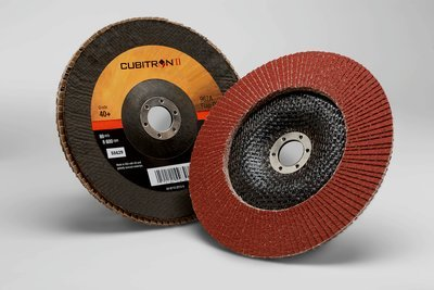 3M™ Cubitron™ II Flap Disc 967A, T29 7 in x 7/8 in 40+ Y-weight, 5 per case