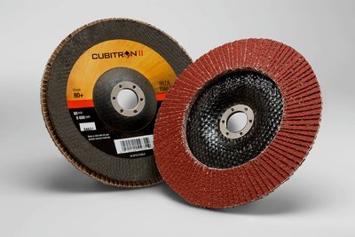 3M™ Cubitron™ II Flap Disc 967A, T29 7 in x 7/8 in 80+ Y-weight, 5 per case